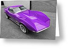 Purple 1968 Corvette C3 From Above Greeting Card