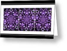 Purple Abstract Flower Garden - Kaleidoscope - Triptych Greeting Card