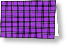 Purple And Black Plaid Textile Background Greeting Card