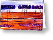 Purple And Blue Trees Abstract Greeting Card