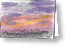 Purple And Gold November Sunset In West Michiganwatercolor Greeting Card
