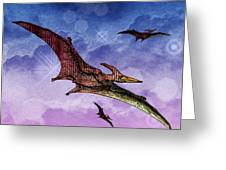 Purple And Green Ptreodactyls Soaring In The Sky Greeting Card