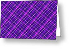 Purple And Pink Diagonal Plaid Fabric Background Greeting Card