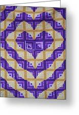 Purple And Yellow Endless Love Log Cabin Quilt Greeting Card