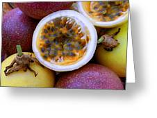 Purple And Yellow Passion Fruit Greeting Card