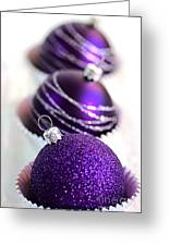 Purple Baubles Greeting Card