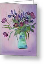 Purple Belle Bouquet  Tulips And Irises Greeting Card