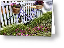 Purple Bicycle And Flowers Greeting Card