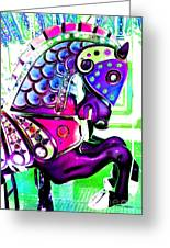 Purple Carousel Horse Greeting Card