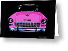 Purple Chevy Pop Art Greeting Card