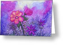 Purple Floral Fantasy Greeting Card