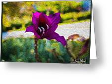 Purple Flower In Oil Greeting Card