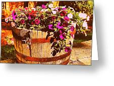 Purple Flowers In Rusty Bucket Greeting Card