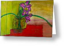 Purple Flowers With Yellow Background Greeting Card