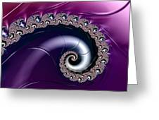 Purple Fractal Spiral For Home Or Office Decor Greeting Card