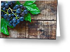 Purple Grapes On A Rustic Wooden Table Greeting Card