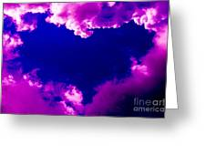 Purple Heart And Pink Clouds Greeting Card
