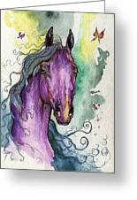 Purple Horse Greeting Card by Angel  Tarantella