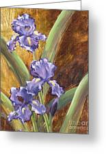 Purple Iris With Gold Leaf By Vic Mastis Greeting Card