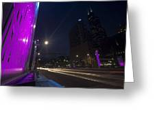 purple lights and Chicago Skyline Greeting Card