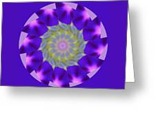 Purple Morning Glory Kaleidoscope Greeting Card