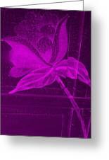 Purple Negative Wood Flower Greeting Card