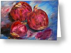 Purple Onions Greeting Card by Barbara Pirkle
