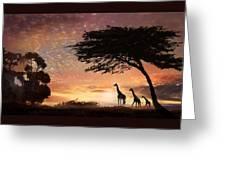 Purple Safari Sunset Greeting Card