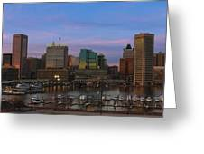 Purple Sky Above Downtown Baltimore Greeting Card