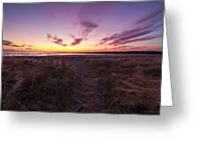 Purple Sunset Sky At The Beach Greeting Card