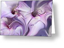 Purple Swirl Abstract Gladiolas  Greeting Card by Jennie Marie Schell