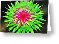 Purple Thistle Flower Greeting Card