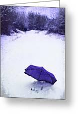 Purple Umbrella Greeting Card by Amanda Elwell