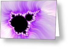Purple White And Black Mandelbrot Set Digital Art Greeting Card