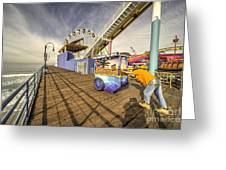 Pushing On The Pier Greeting Card