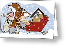 Pushing The Wheelbarrow Greeting Card
