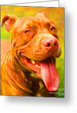 Pit Bull Portrait Greeting Card