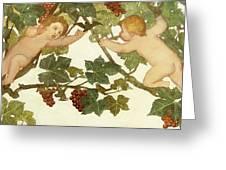 Putti Frolicking In A Vineyard Greeting Card