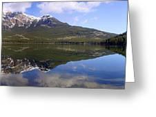 Pyramid Lake Mountain Reflections - Jasper, Alberta Greeting Card
