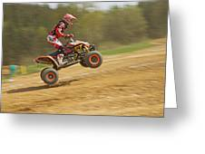 Quad Racer Jumping Greeting Card