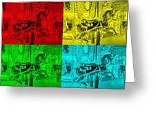 Quad Color Horses Greeting Card