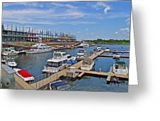 Quays Along Saint Lawrence River In Montreal-qc Greeting Card