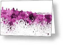 Quebec Skyline In Pink Watercolor On White Background Greeting Card