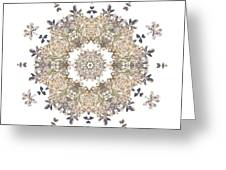 Queen Annes Lace I Flower Mandala White Greeting Card