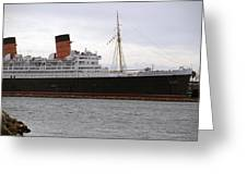 Queen Mary Ocean Liner Starboard Side 05 Long Beach Ca Greeting Card