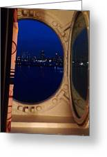 Queen Mary Port Hole Night  Greeting Card