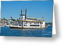 Queen Of Seattle Vintage Paddle Boat Art Prints Greeting Card