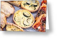 Quiches Pizza And Breads Greeting Card
