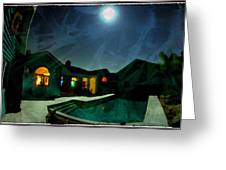 Quiet Night With A Full Moon Greeting Card