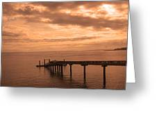 Quiet Peachy Toned Pier Greeting Card